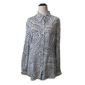 Cabi | black & white printed split back blouse